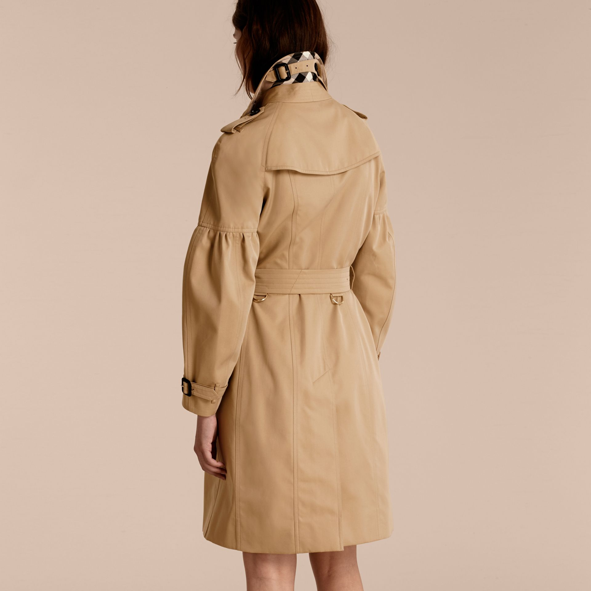 Honey Cotton Gabardine Trench Coat with Puff Sleeves Honey - gallery image 3