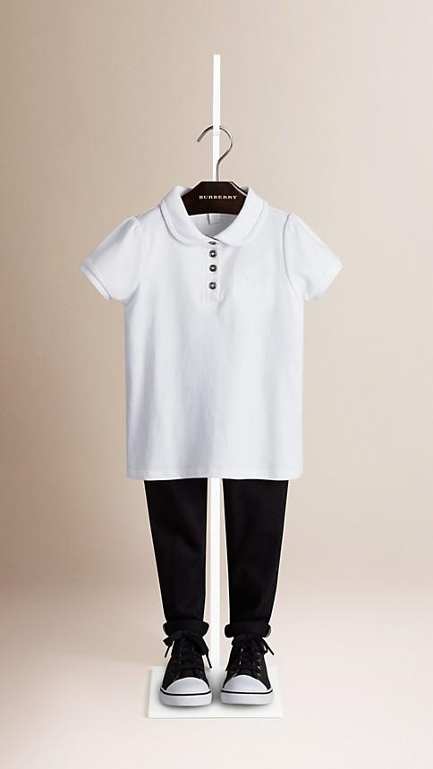 White Check Placket Polo Shirt - Image 1
