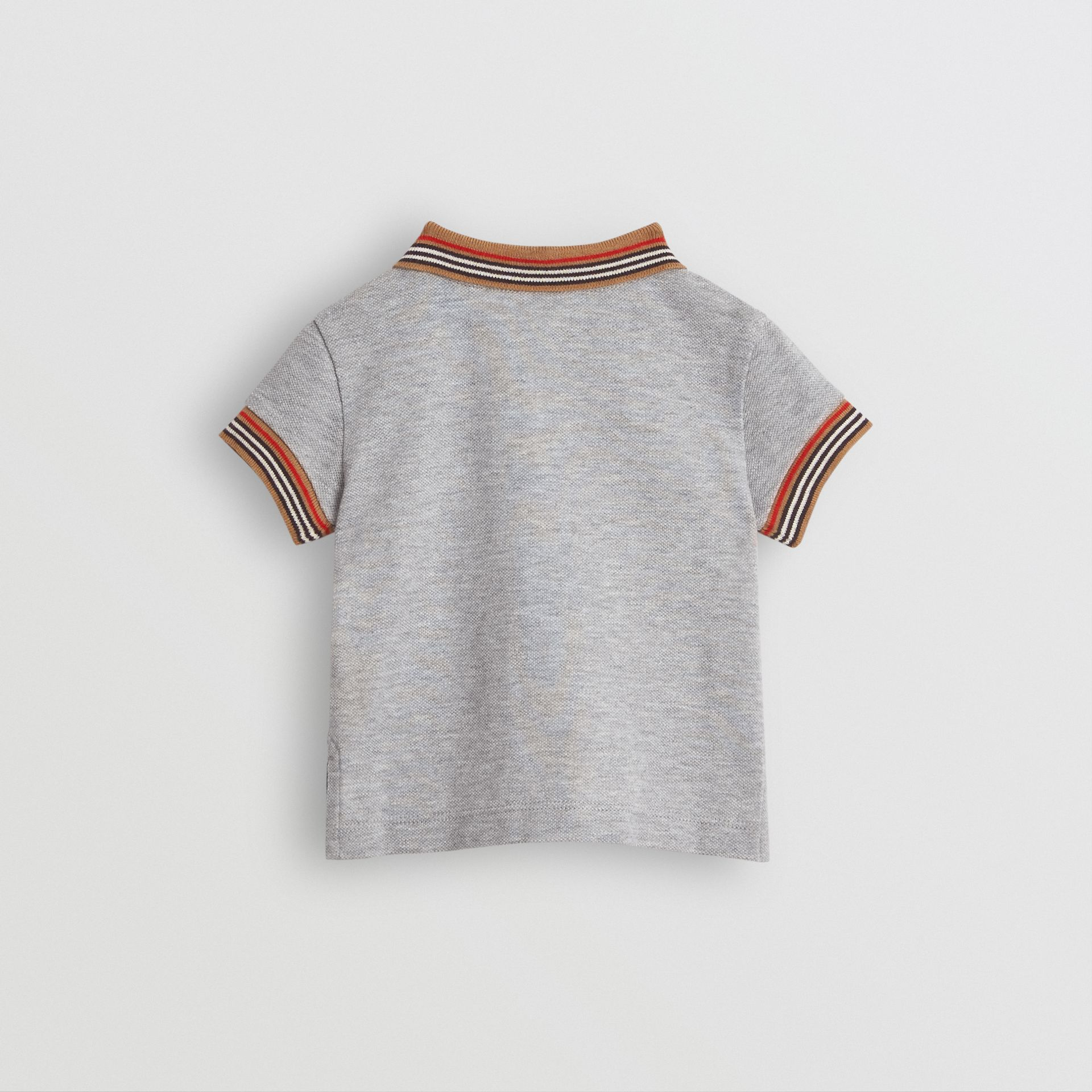 Icon Stripe Detail Cotton Polo Shirt in Grey Melange - Children | Burberry United Kingdom - gallery image 3