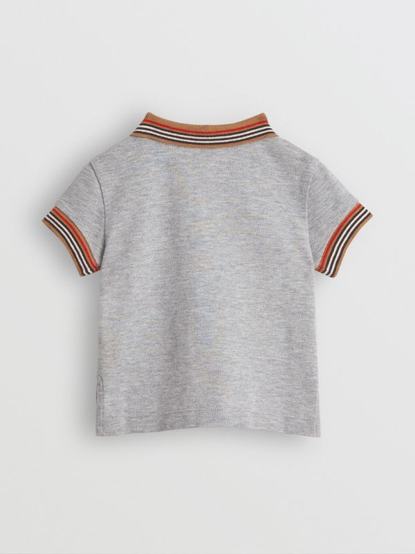 Icon Stripe Detail Cotton Polo Shirt in Grey Melange - Children | Burberry United Kingdom - cell image 3