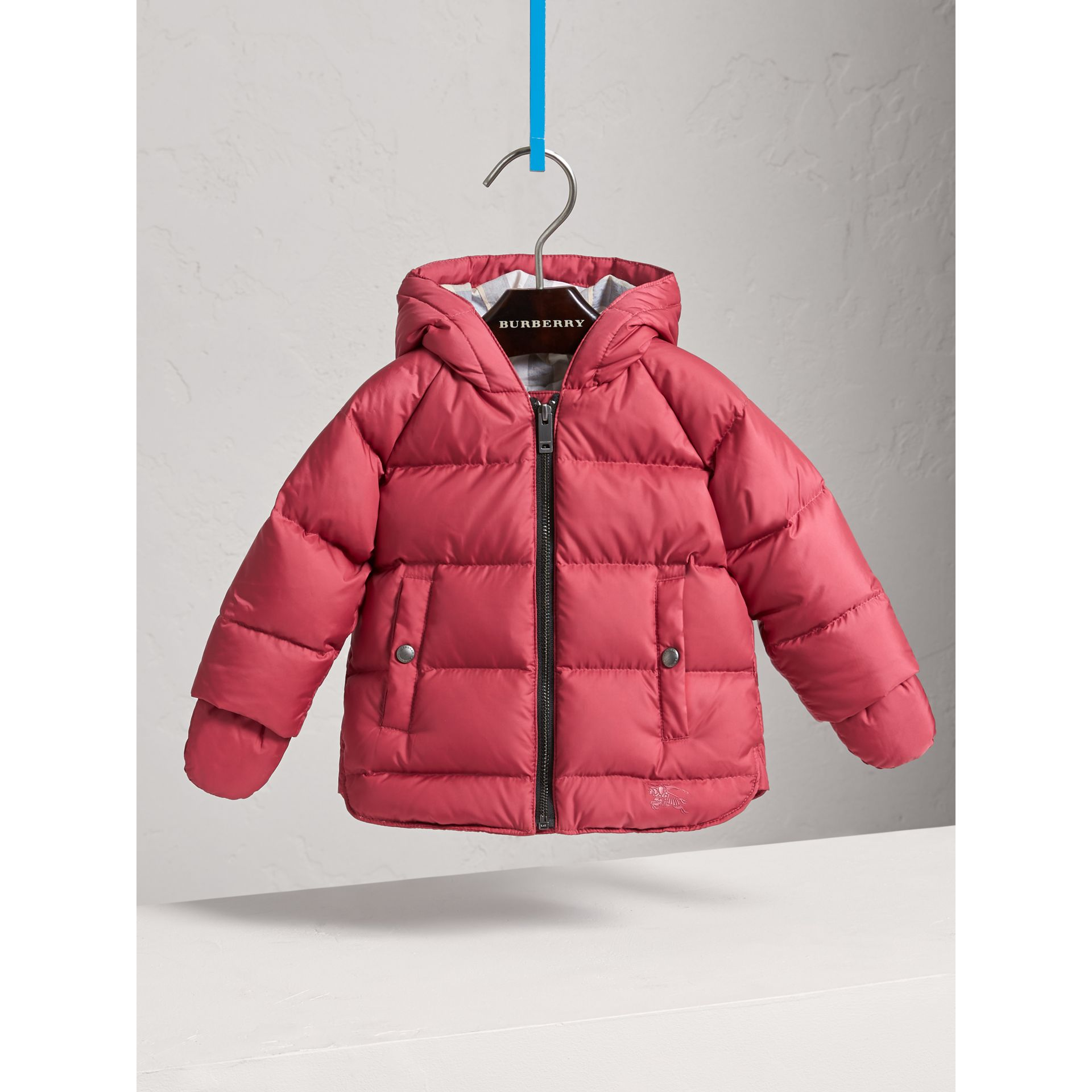 Hooded Down-filled Puffer Jacket with Mittens in Peony Rose | Burberry - gallery image 0