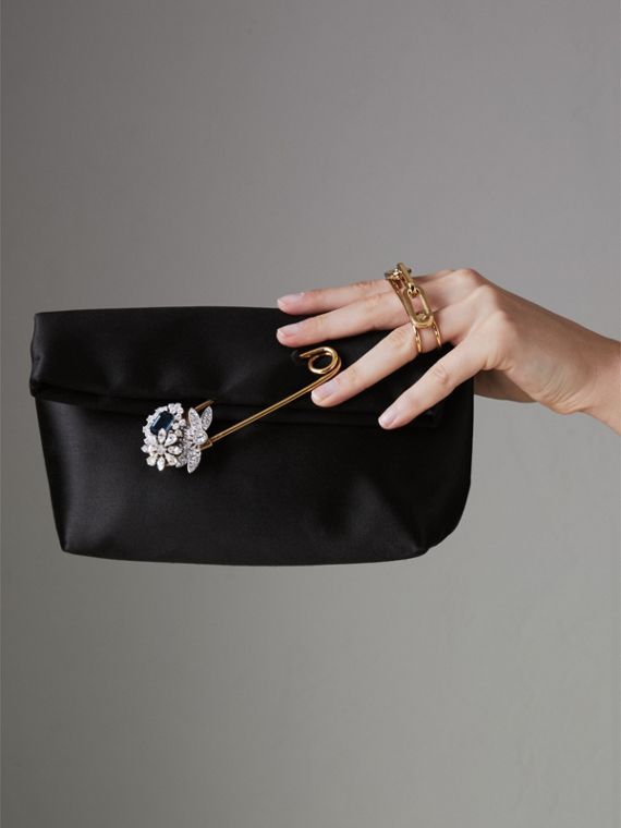 The Small Pin Clutch in Satin in Black - Women | Burberry Australia - cell image 3