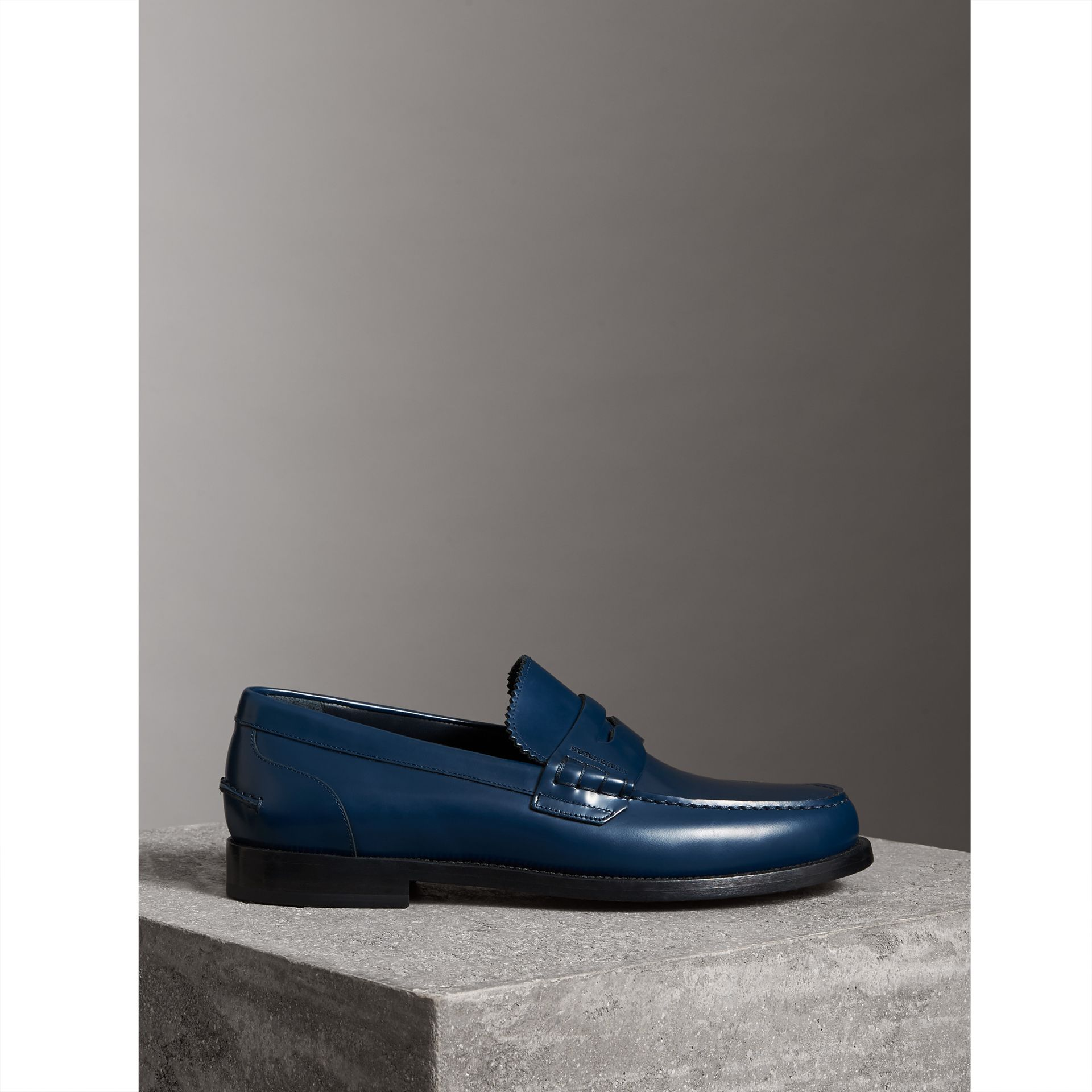 Leather Penny Loafers in Navy - Men | Burberry - gallery image 4