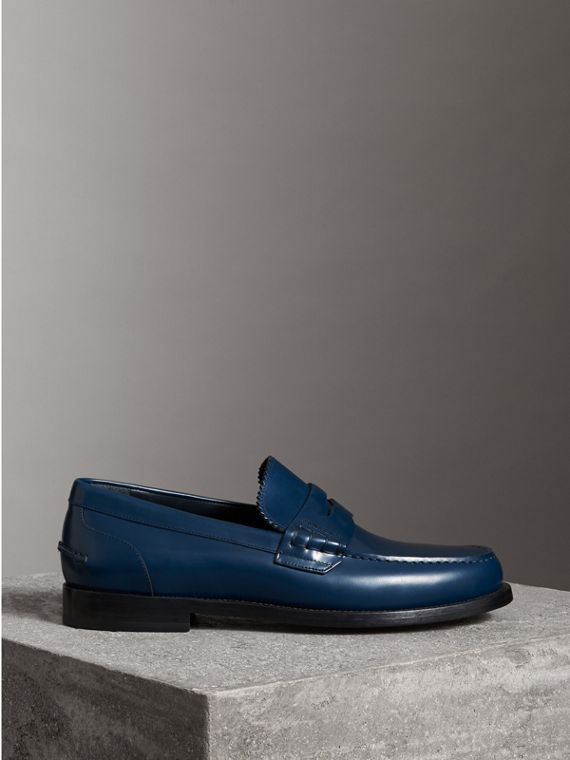 Leather Penny Loafers in Navy