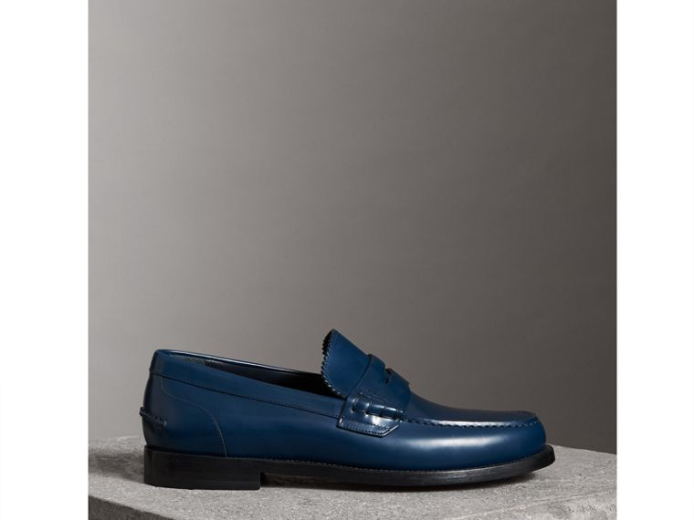 Leather Penny Loafers in Navy - Men | Burberry - cell image 4
