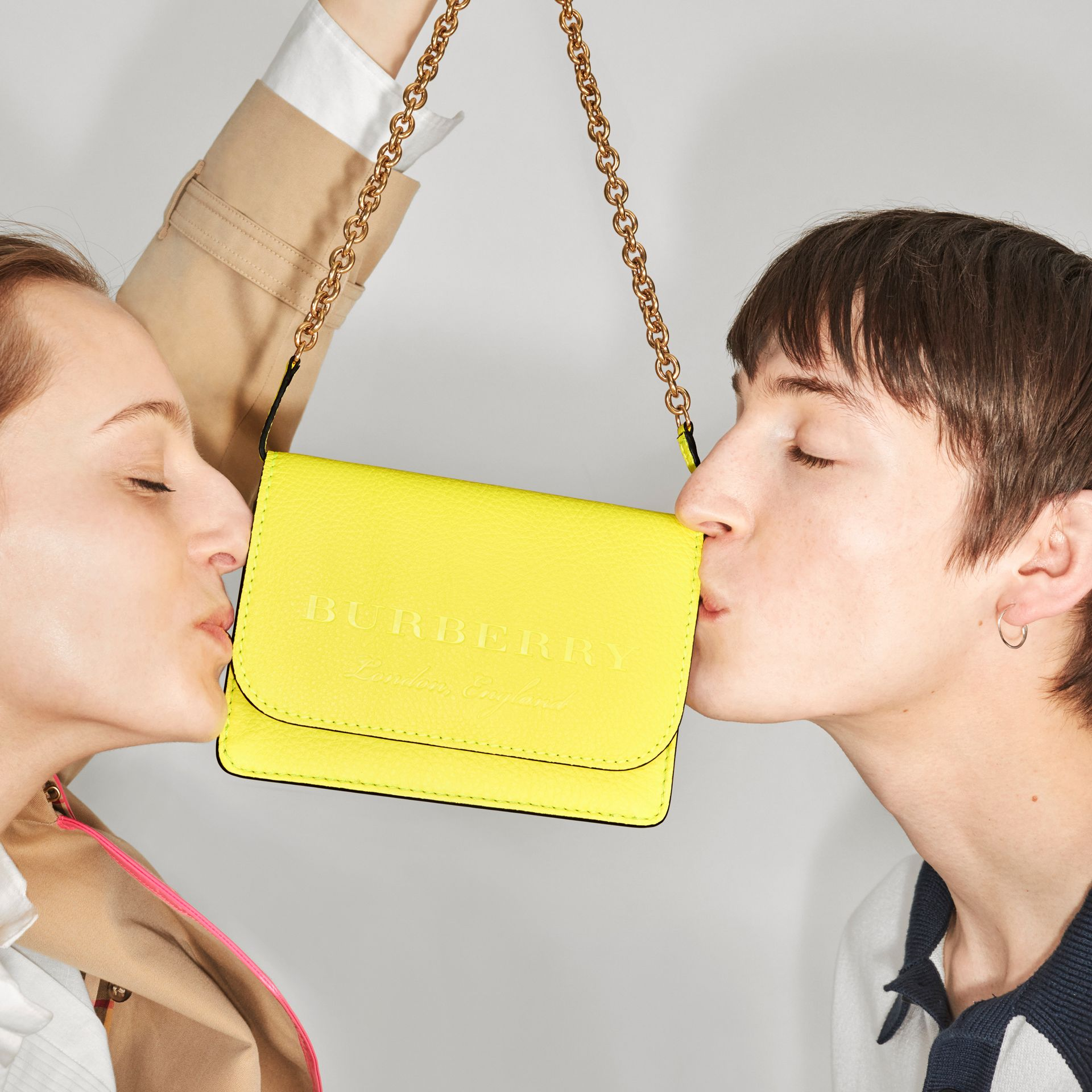 Embossed Leather Wallet with Detachable Strap in Bright Yellow - Women | Burberry - gallery image 8