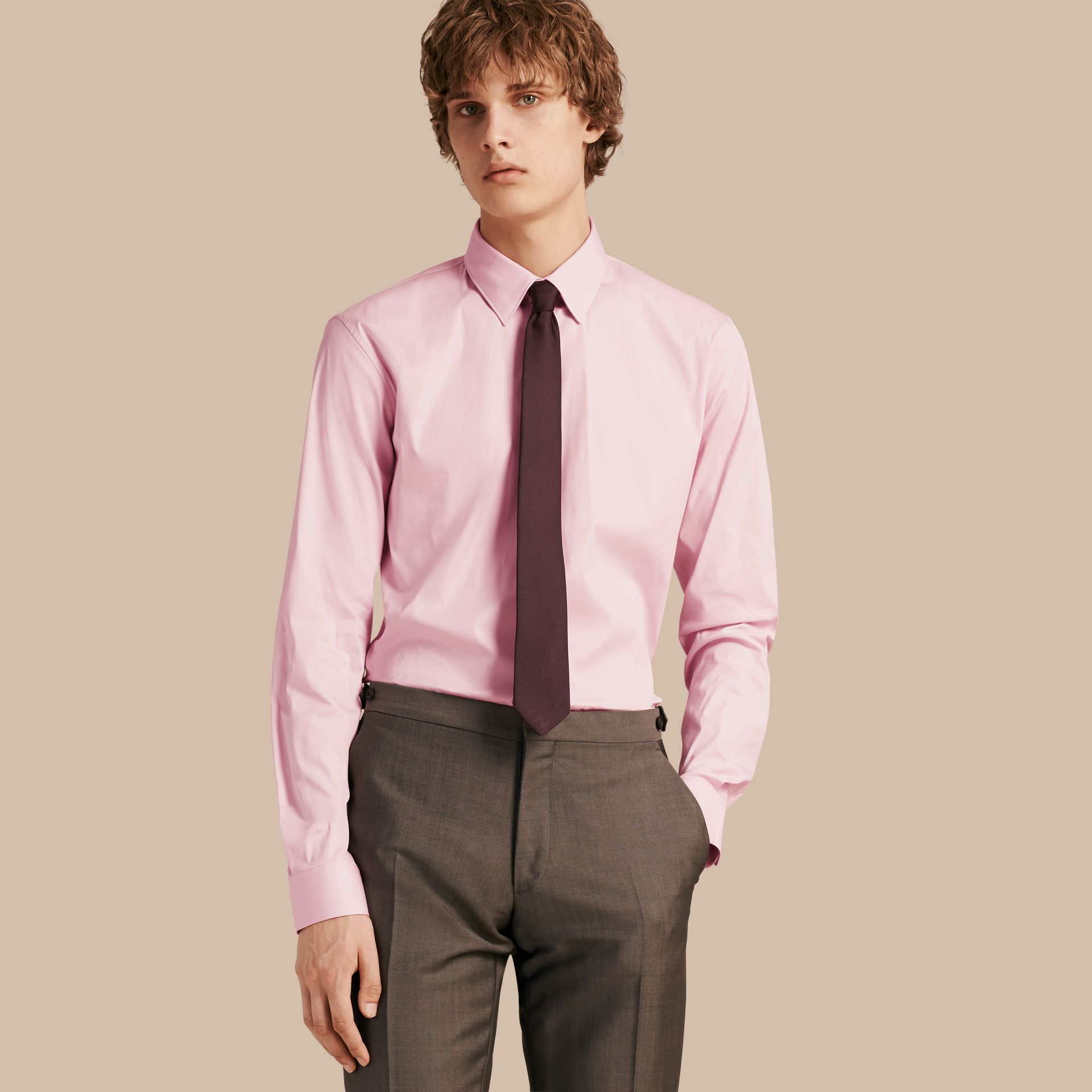 Slim Fit Stretch Cotton Shirt in City Pink - gallery image 1