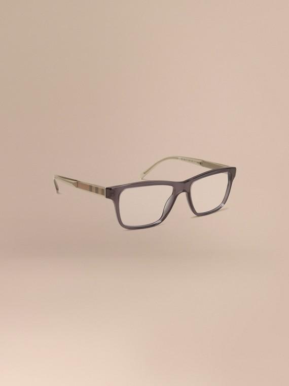 Rechteckige Brille mit Check-Detail