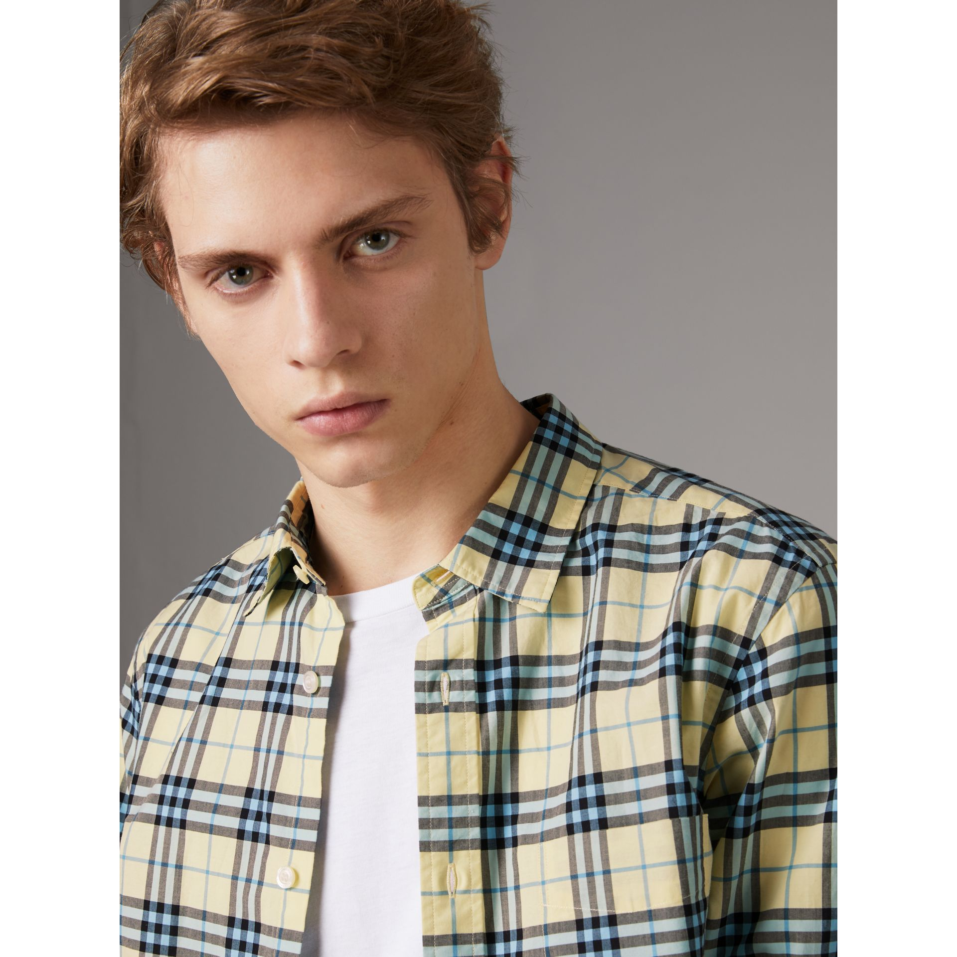 Check Cotton Shirt in Chalk Yellow - Men | Burberry United Kingdom - gallery image 1