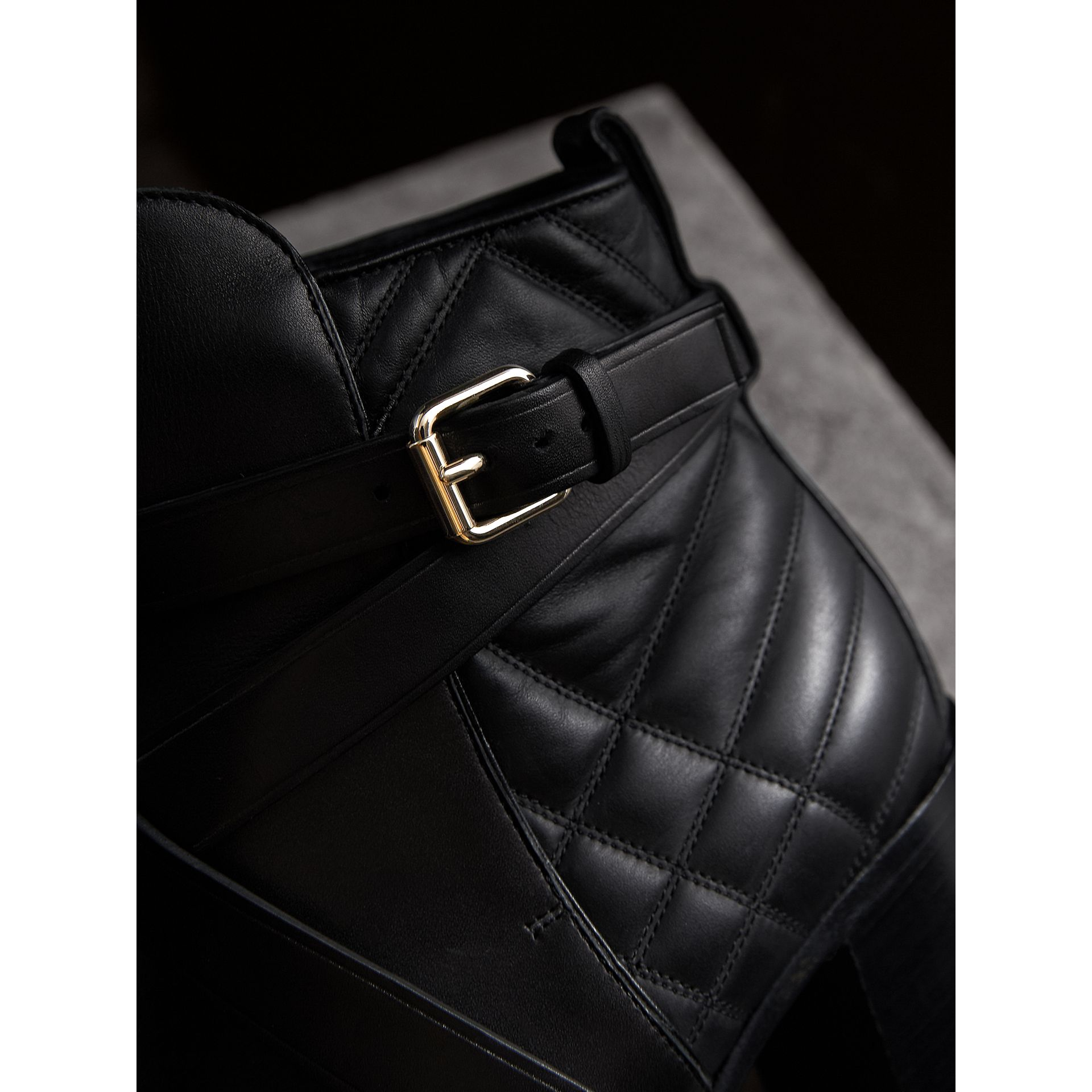 Strap Detail Quilted Leather Ankle Boots in Black - Women | Burberry Singapore - gallery image 2