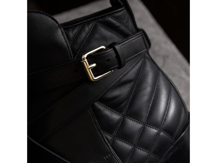 Strap Detail Quilted Leather Ankle Boots in Black - Women | Burberry - cell image 1