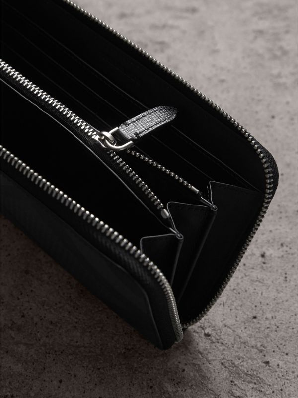 Cartera en London Checks con cremallera perimetral (Gris Marengo / Negro) - Hombre | Burberry - cell image 3