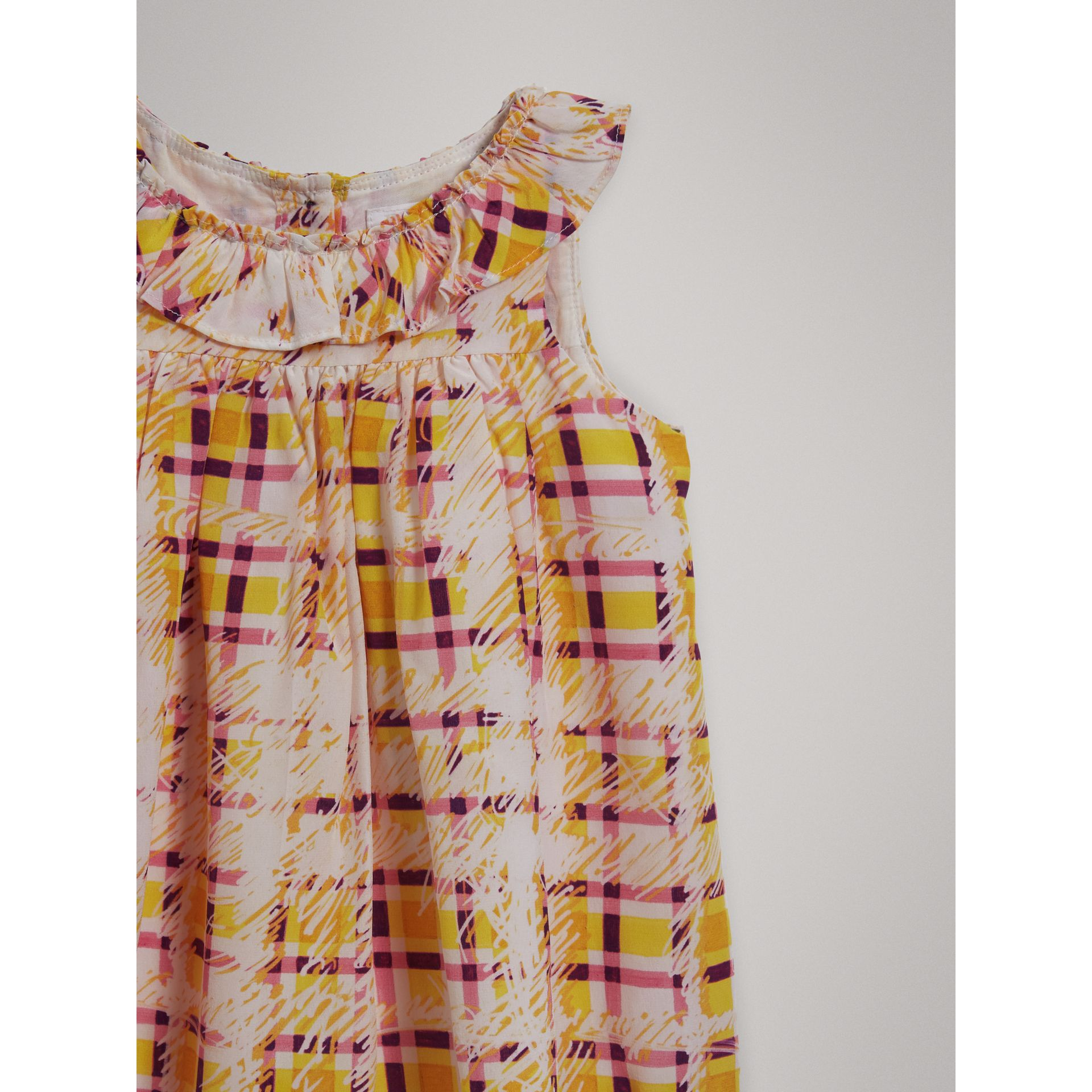 Gathered Scribble Check Print Silk Dress in Amber Yellow - Children | Burberry - gallery image 4