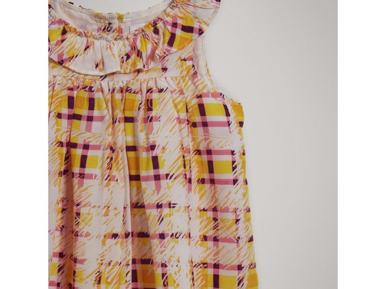 Gathered Scribble Check Print Silk Dress in Amber Yellow | Burberry - cell image 4