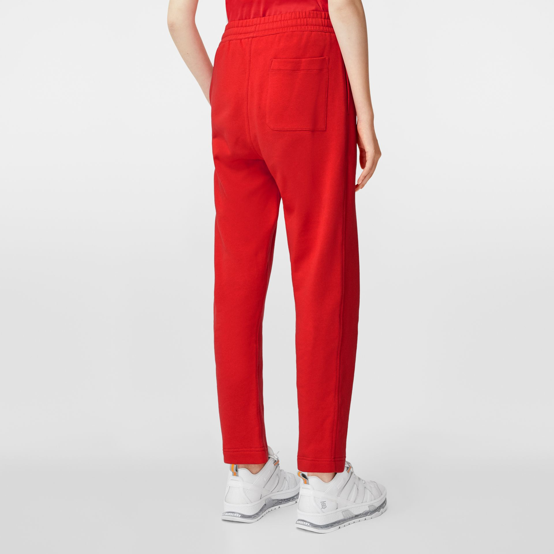 Monogram Motif Cotton Trackpants in Bright Red - Women | Burberry - gallery image 2