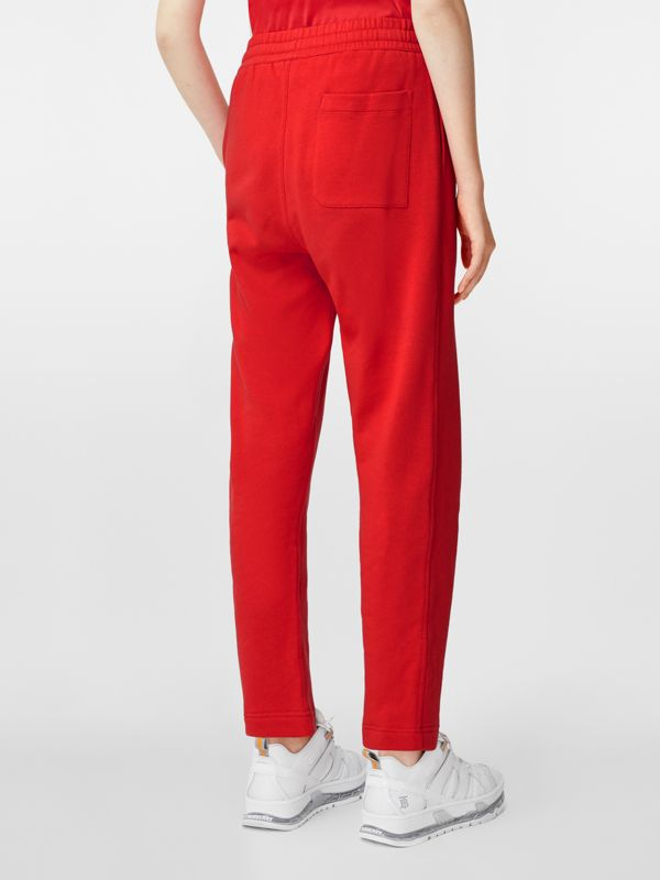 Monogram Motif Cotton Trackpants in Bright Red - Women | Burberry - cell image 2