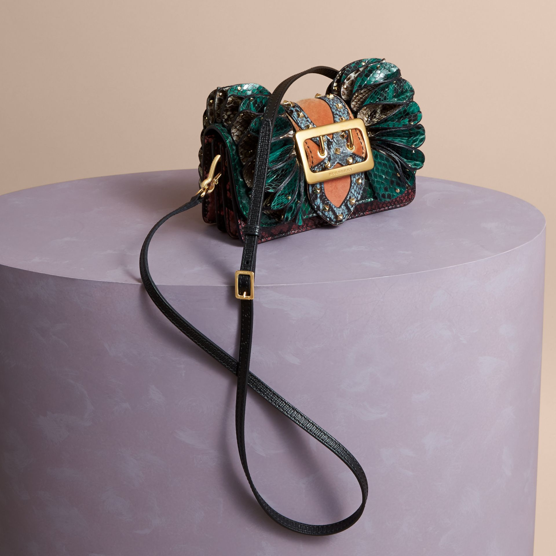 Teal The Ruffle Buckle Bag in Snakeskin and Velvet - gallery image 4