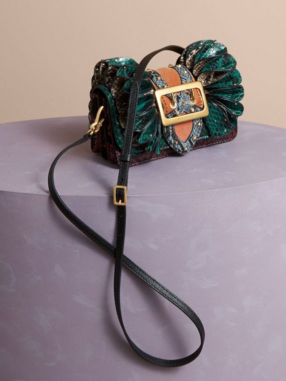Teal The Ruffle Buckle Bag in Snakeskin and Velvet - cell image 3