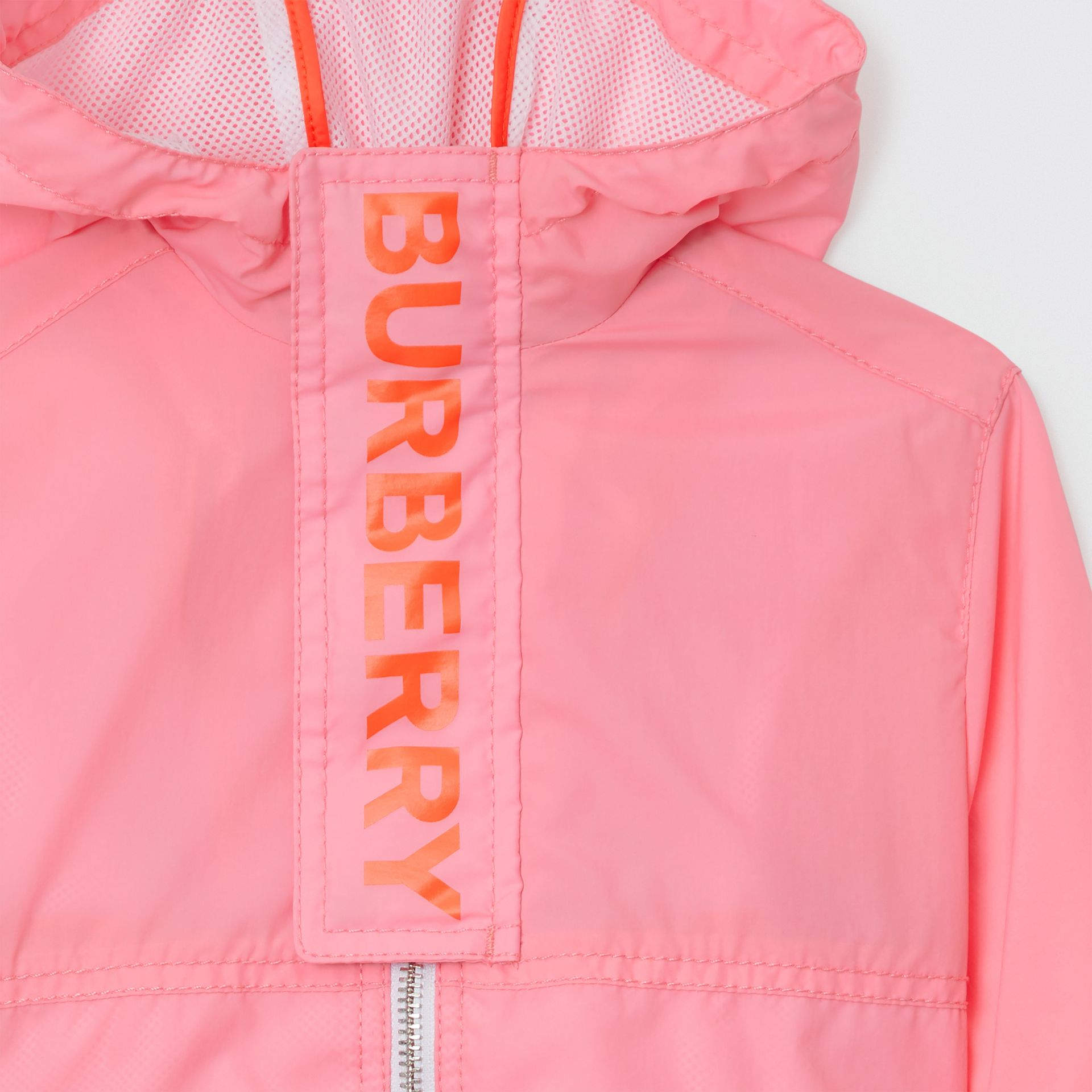 Logo Print Lightweight Hooded Jacket in Bright Rose - Children | Burberry - gallery image 4
