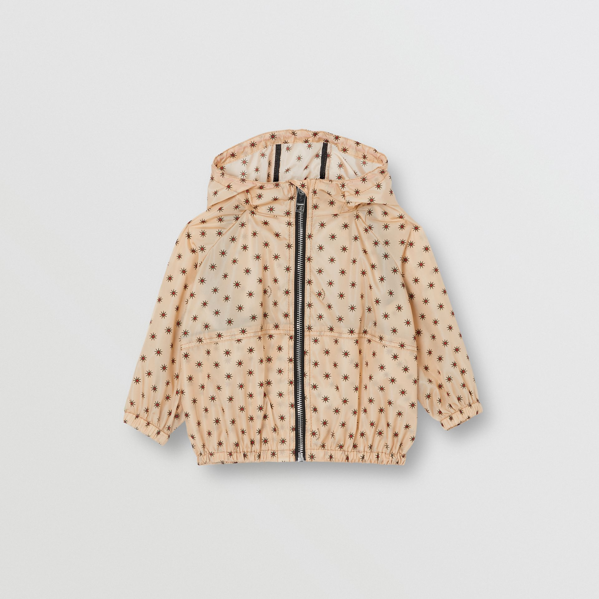 Star Print Lightweight Hooded Jacket in Military Red - Children | Burberry Australia - gallery image 0