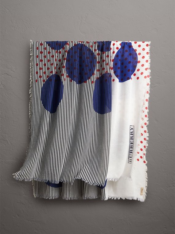 Graphic Spot and Stripe Print Silk Cotton Scarf in Bright Navy
