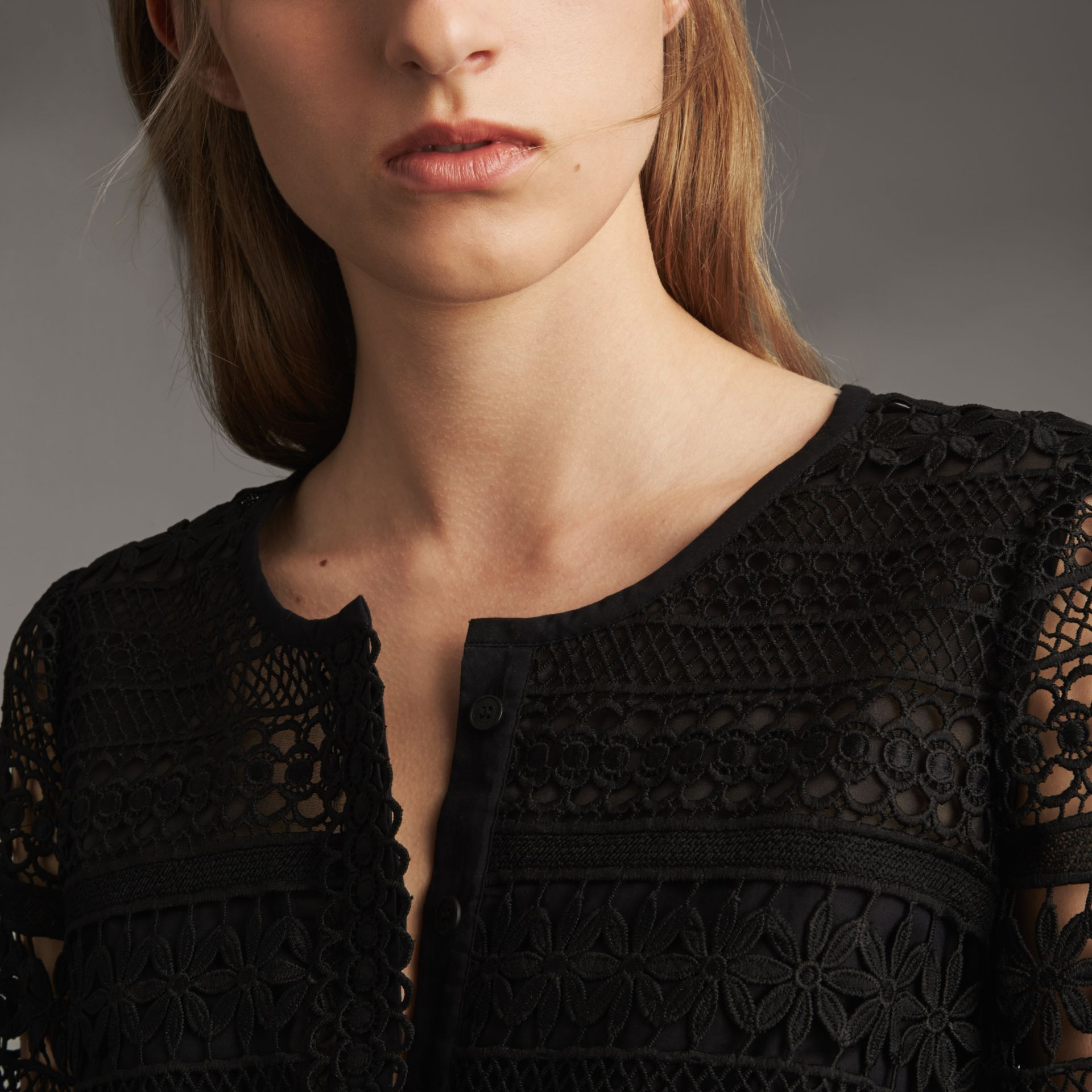Puff-sleeve Macramé Lace Dress - Women | Burberry - gallery image 6