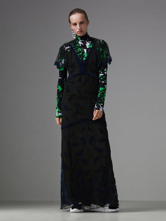 Velvet Leaf Cap-sleeve Gown in Black/blue