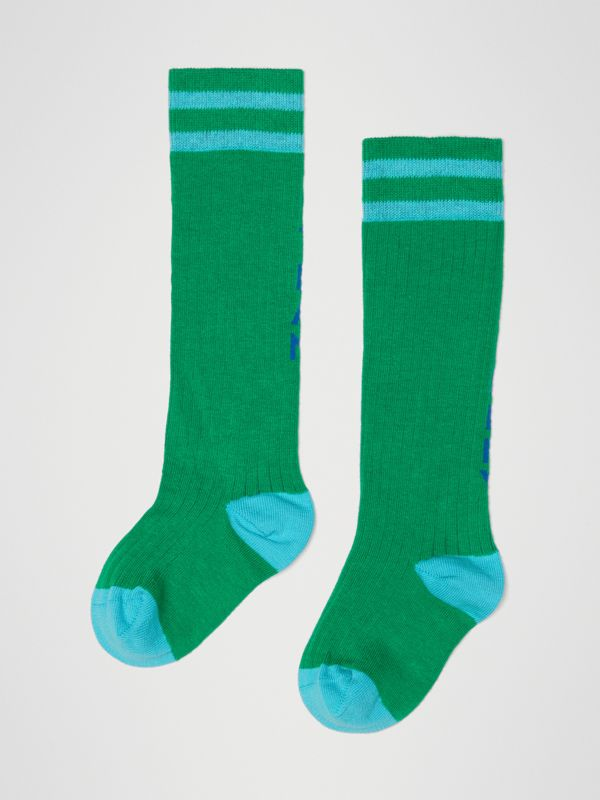 Logo Striped Cotton Blend Socks in Grass Green - Children | Burberry United States - cell image 2