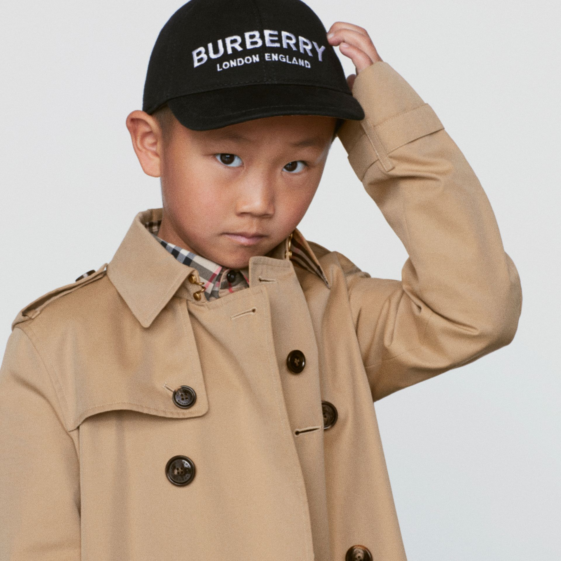 Embroidered Logo Baseball Cap in Black - Children | Burberry Singapore - gallery image 1