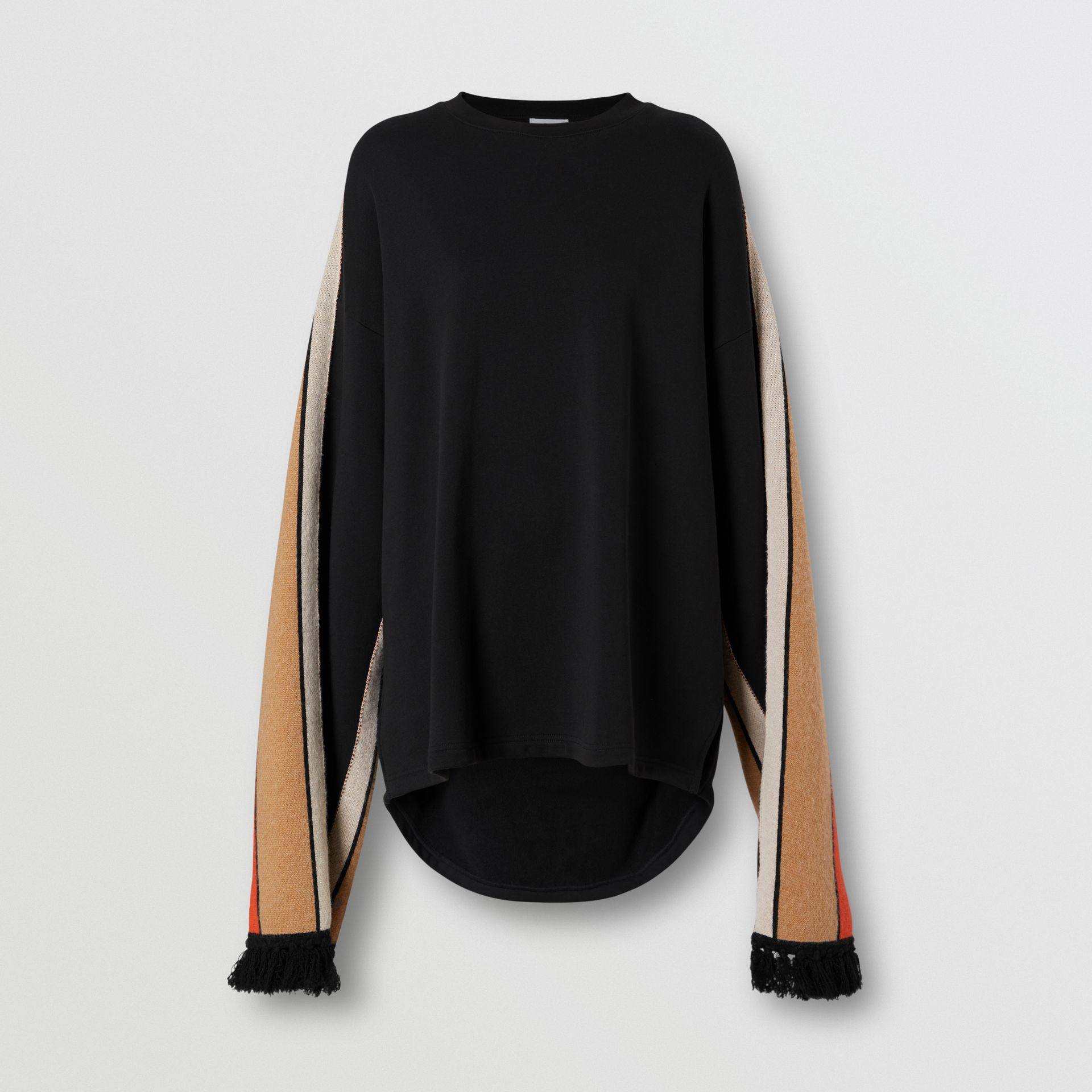 Contrast Sleeve Cotton Oversized Top in Black - Women | Burberry United Kingdom - gallery image 3