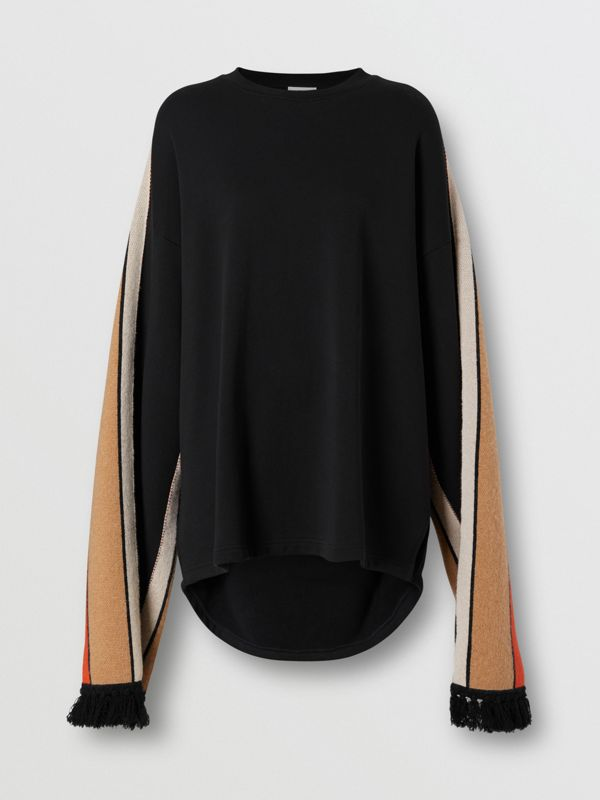 Contrast Sleeve Cotton Oversized Top in Black - Women | Burberry - cell image 3