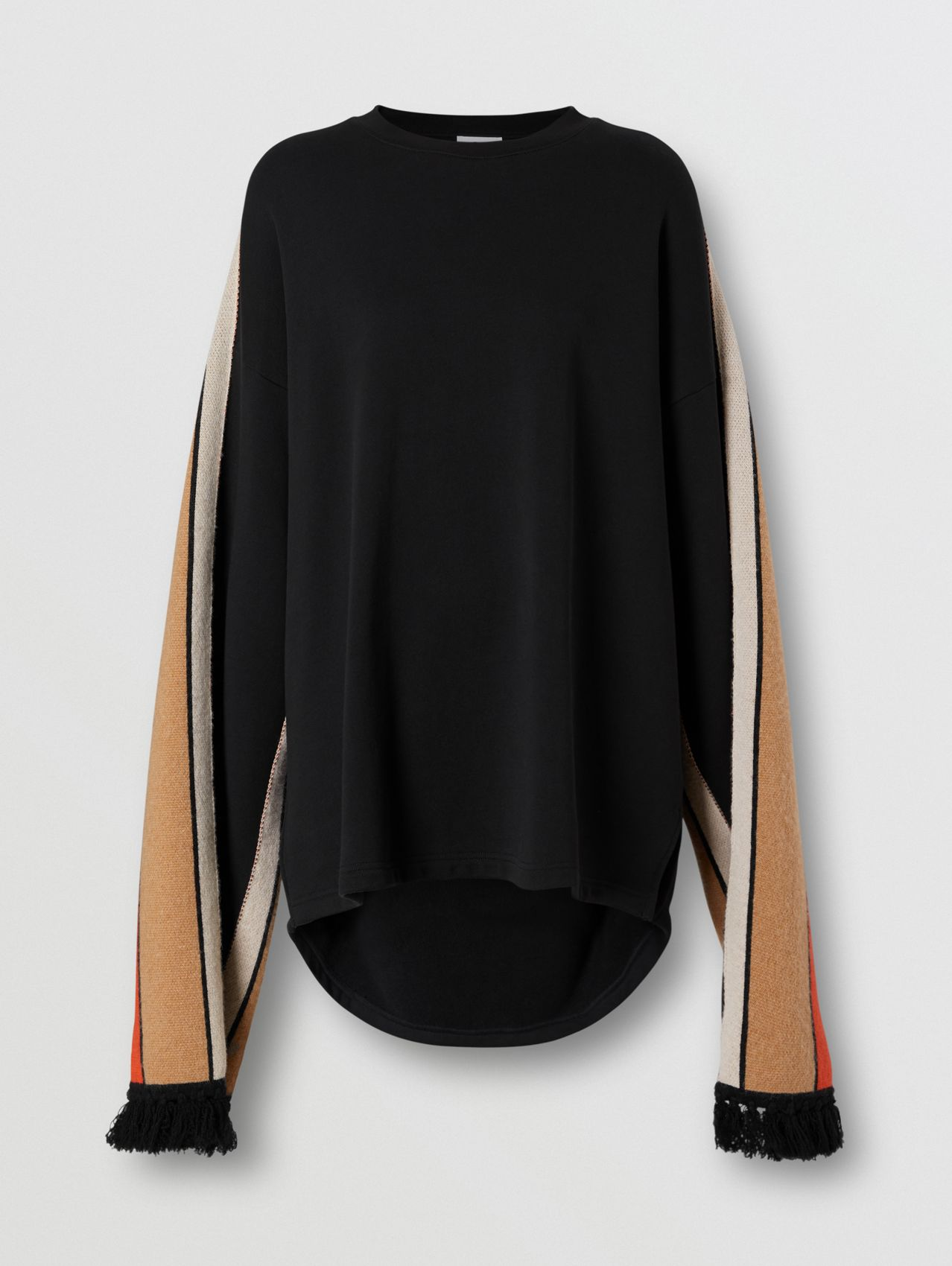 Contrast Sleeve Cotton Oversized Top in Black