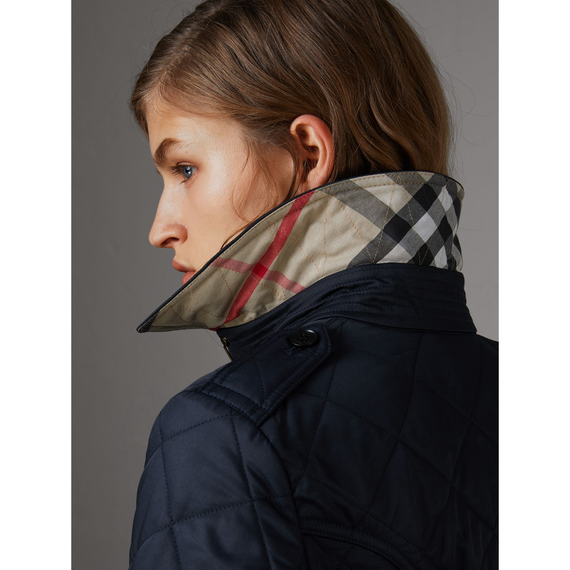 Diamond Quilted Jacket in Navy - Women | Burberry United States - gallery image 4
