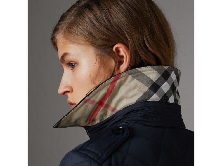 Diamond Quilted Jacket in Navy - Women | Burberry United States - cell image 4