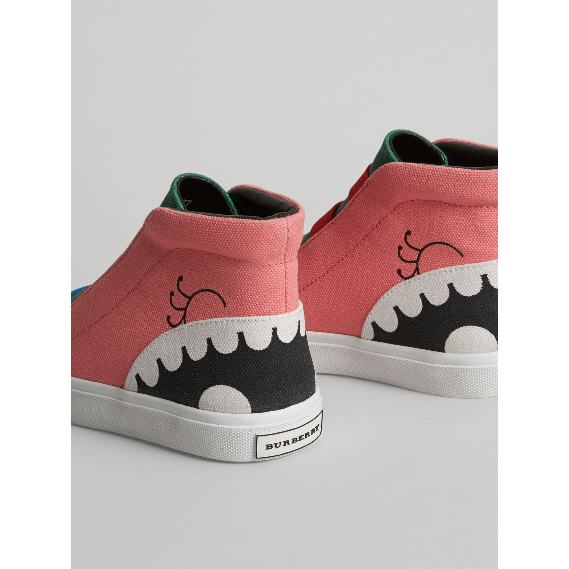 Monster Graphic High-top Sneakers in Pink Azalea | Burberry - gallery image 2
