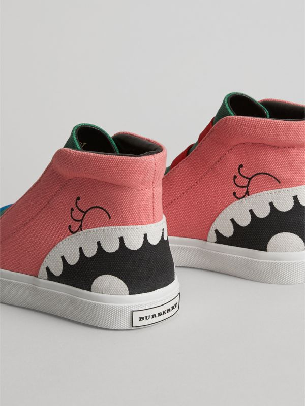 Monster Graphic High-top Sneakers in Pink Azalea | Burberry United Kingdom - cell image 2