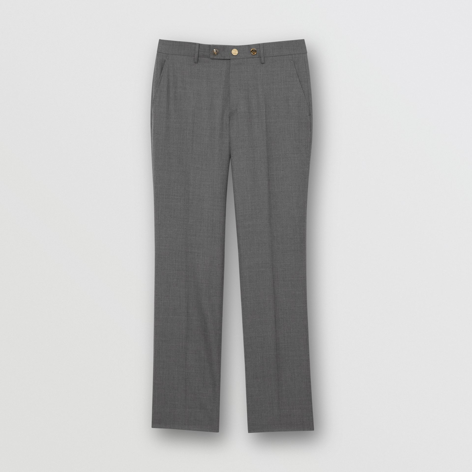 Classic Fit Metal Button Wool Tailored Trousers in Light Grey | Burberry - gallery image 3