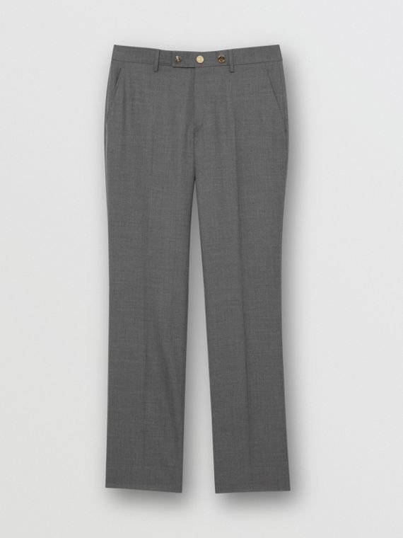Classic Fit Metal Button Wool Tailored Trousers in Light Grey