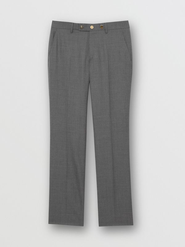 Classic Fit Metal Button Wool Tailored Trousers in Light Grey | Burberry - cell image 3