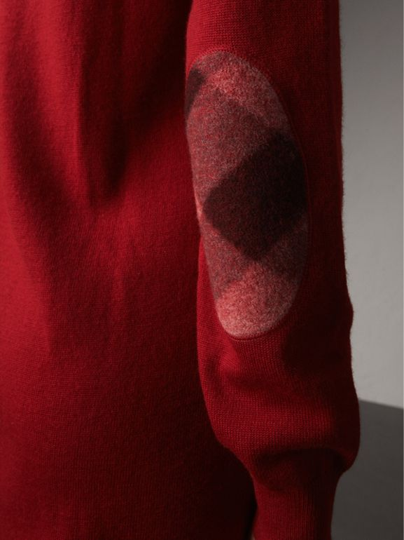 Check Elbow Detail Merino Wool Sweater Dress in Parade Red - Women | Burberry - cell image 1