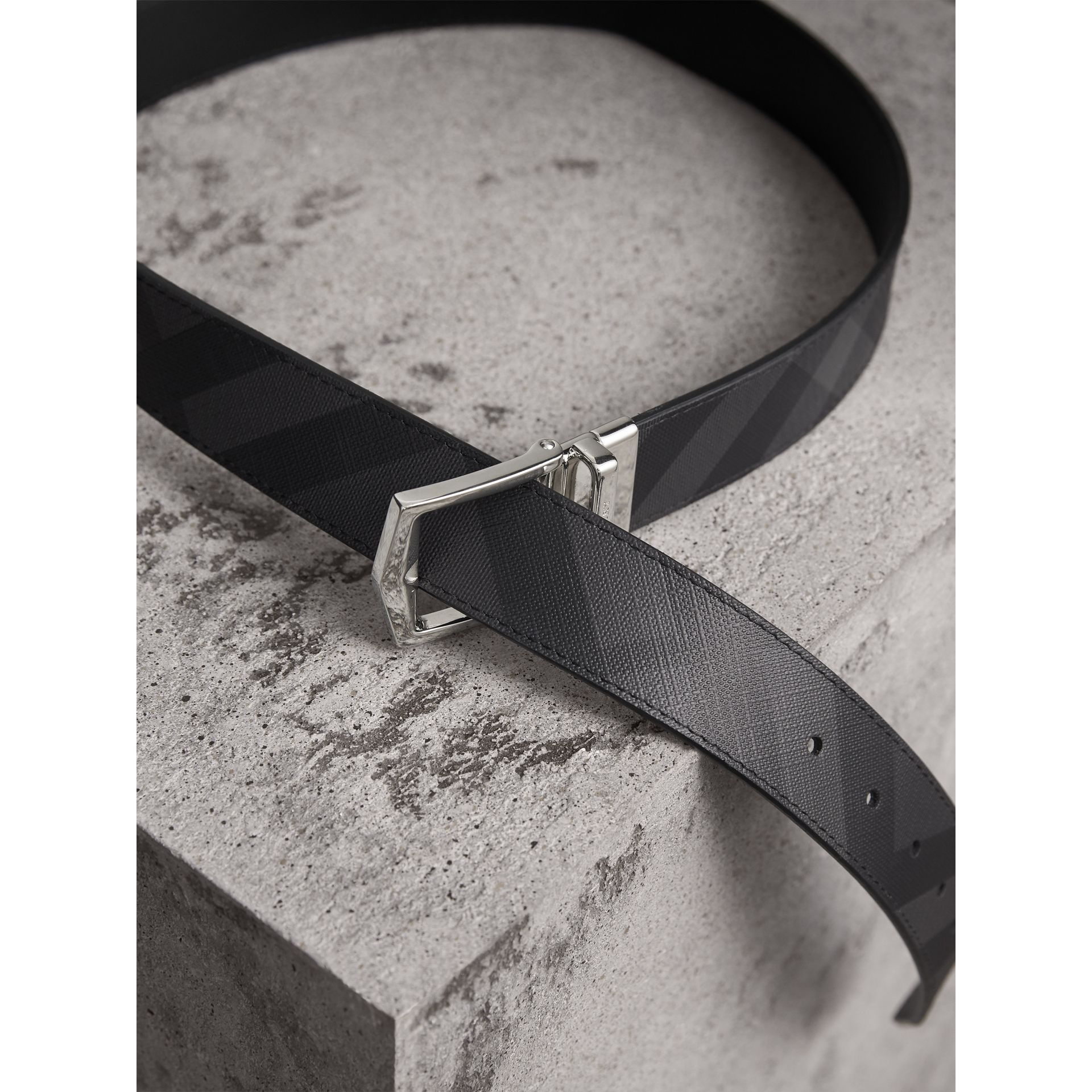 Reversible London Check and Leather Belt in Charcoal/black - Men | Burberry Australia - gallery image 4