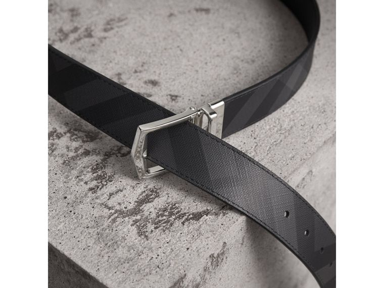 Reversible London Check and Leather Belt in Charcoal/black - Men | Burberry Australia - cell image 4