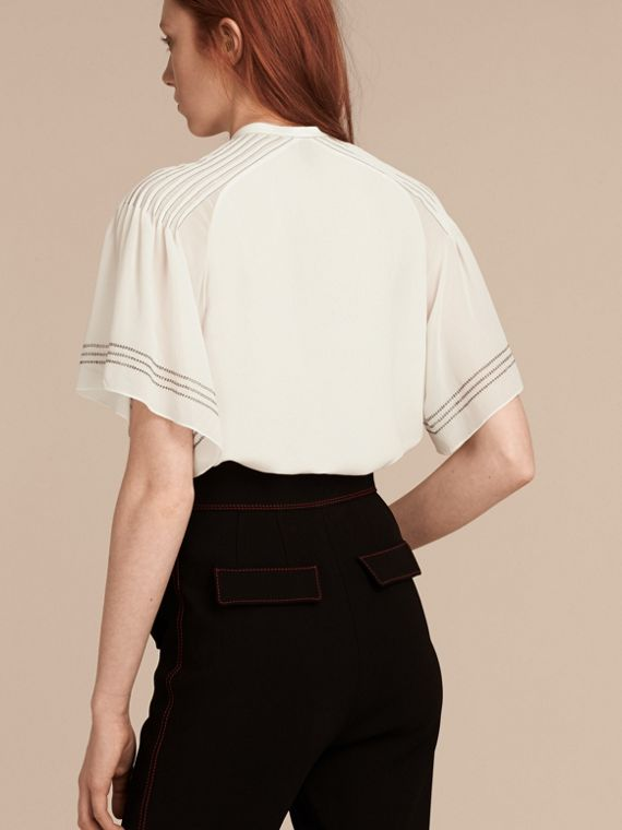 White Cape Sleeve Silk Blouse - cell image 2