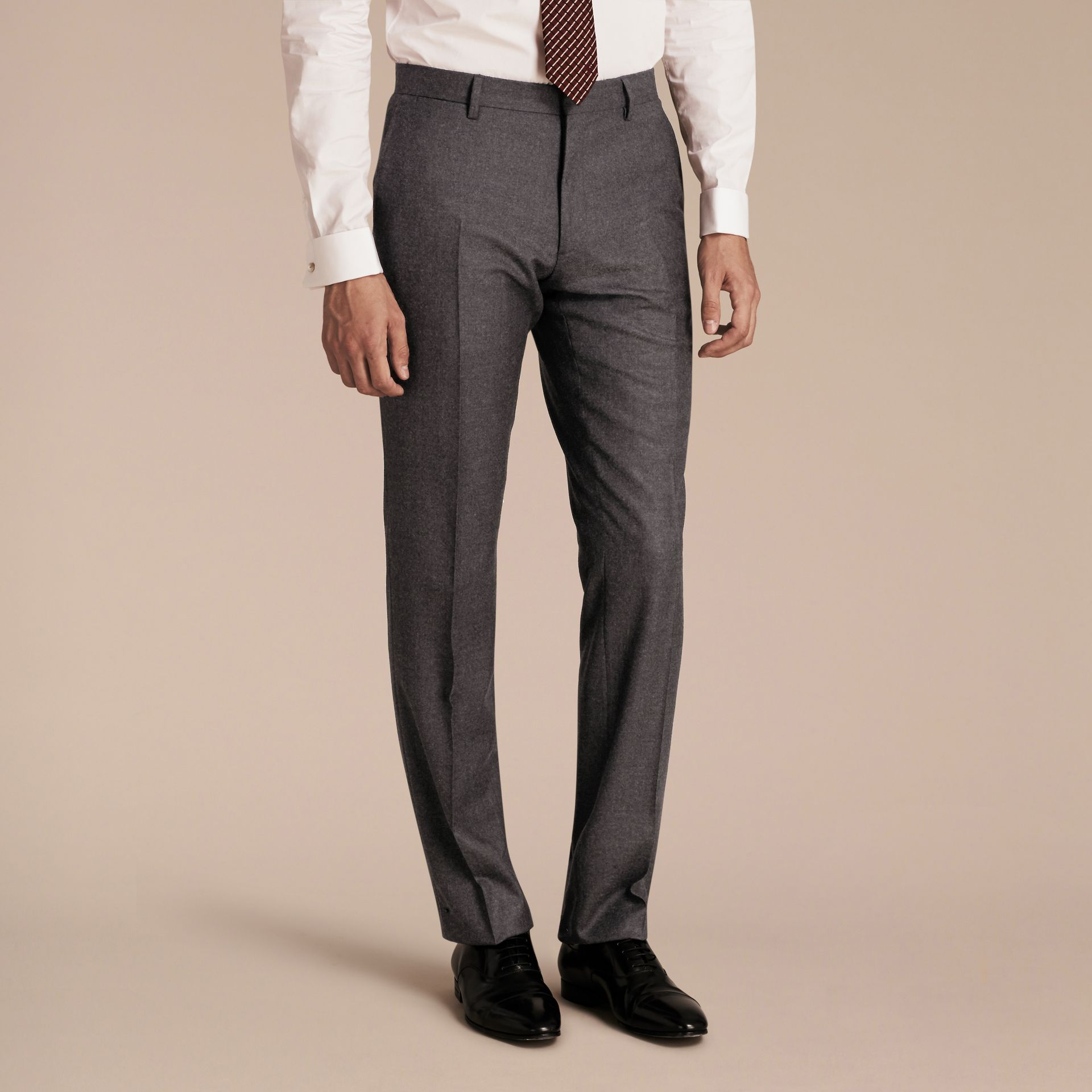 Dark grey melange Modern Fit Travel Tailoring Brushed Wool Trousers - gallery image 6