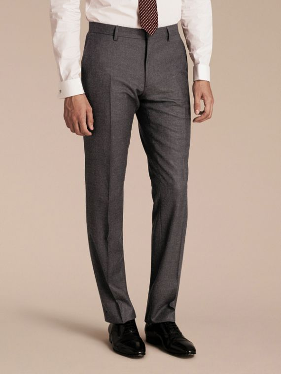 Modern Fit Travel Tailoring Brushed Wool Trousers