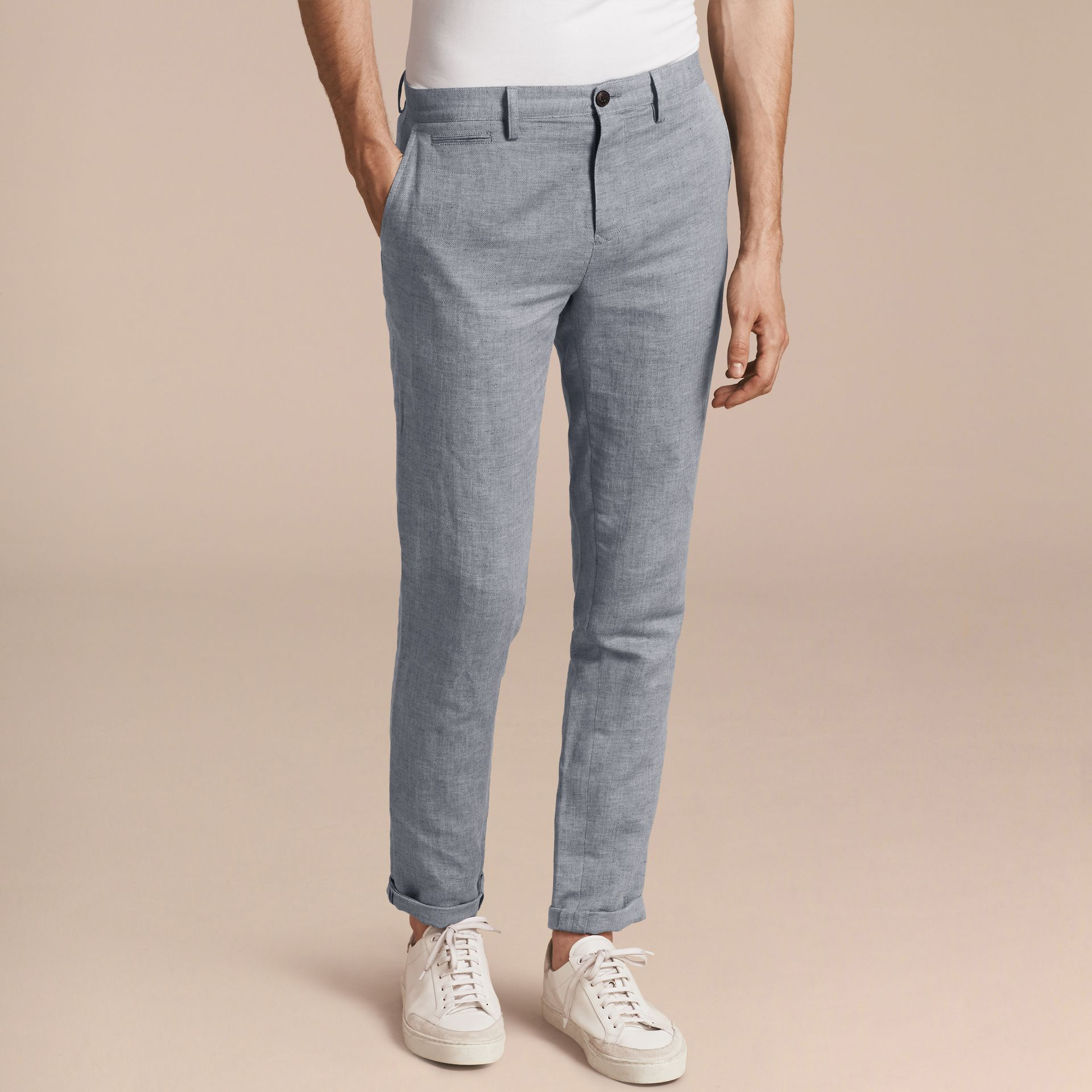 Pale blue Linen Cotton Chinos - gallery image 6
