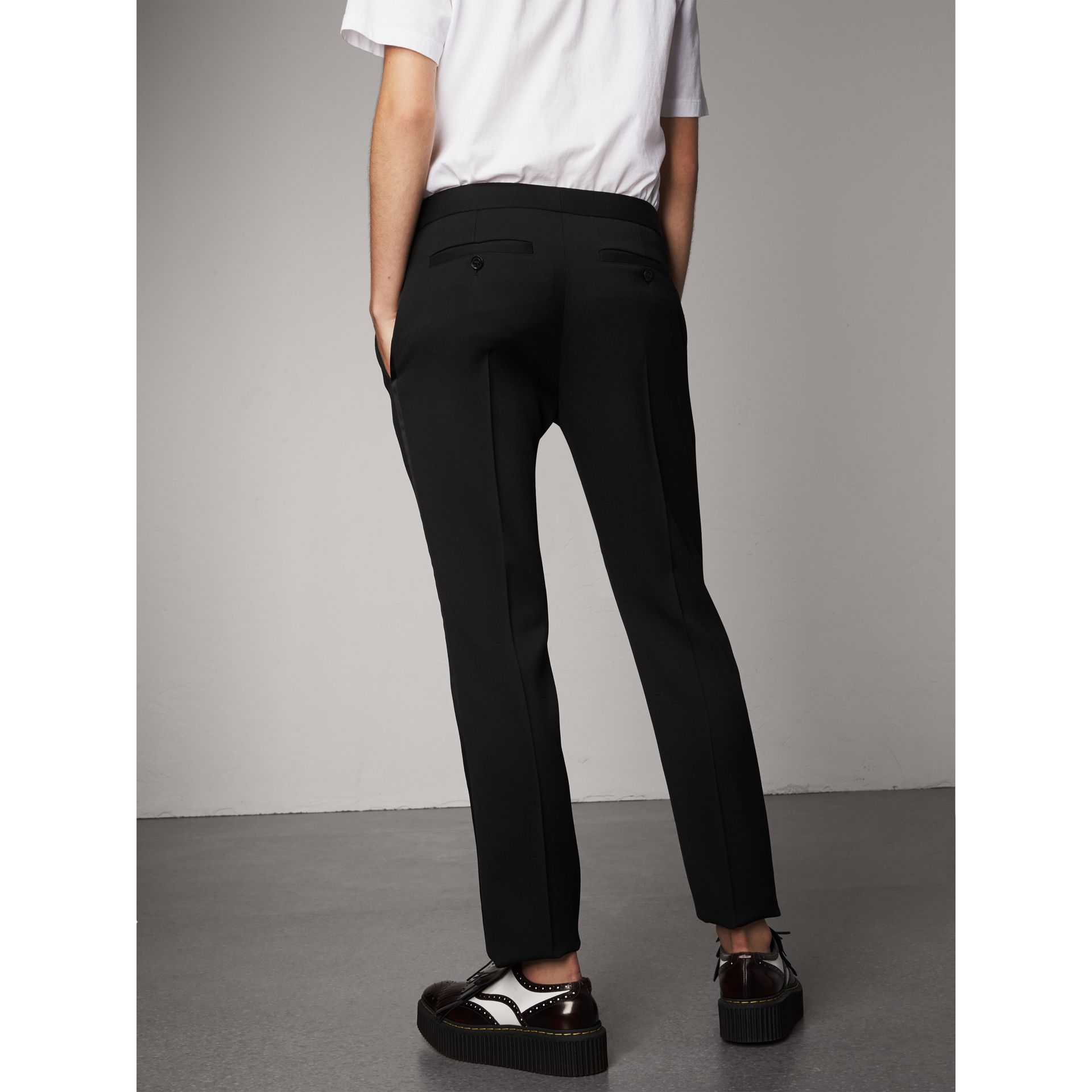 Wool Tailored Trousers in Black - Women | Burberry - gallery image 3