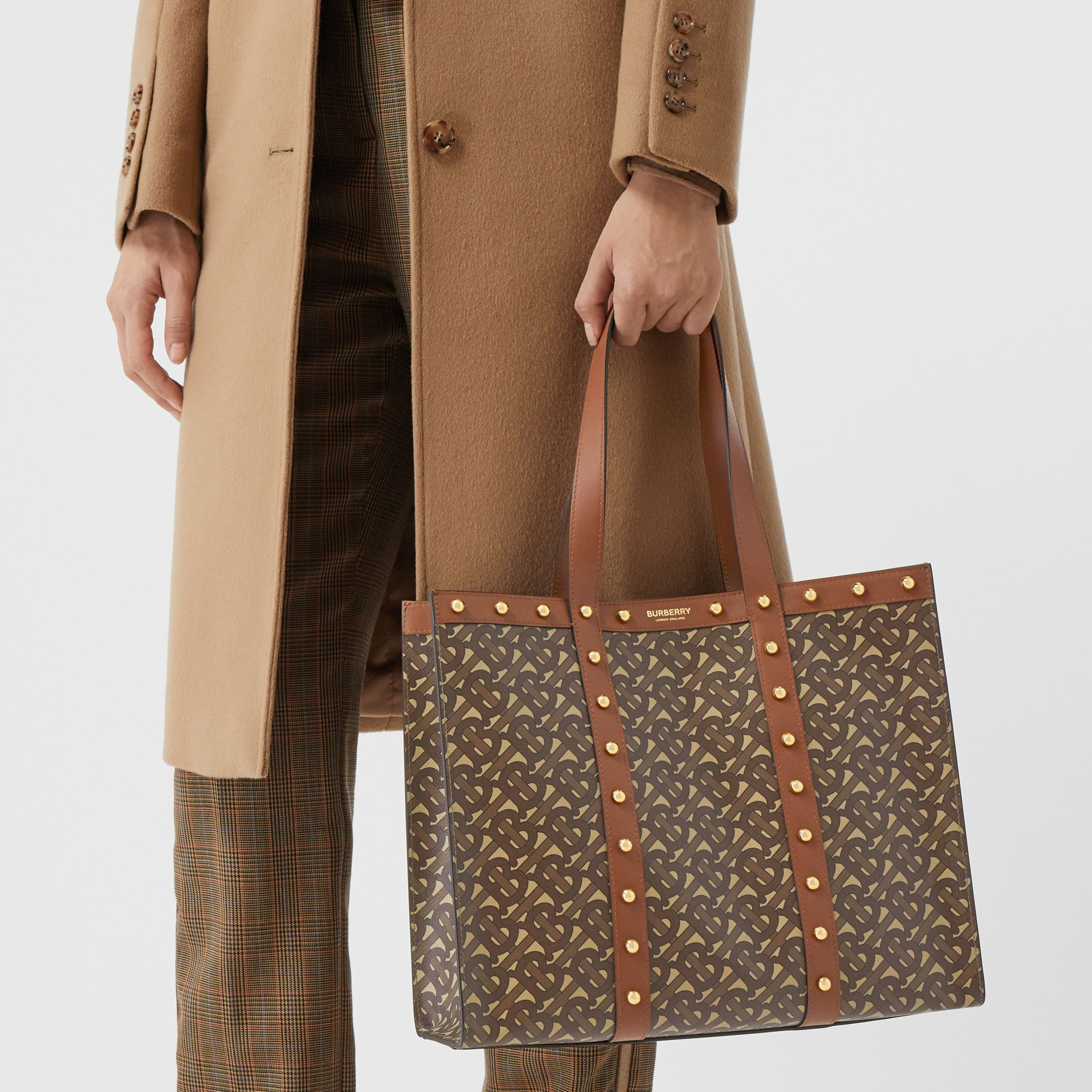 Small Monogram Print E-canvas Tote Bag in Tan | Burberry - 3