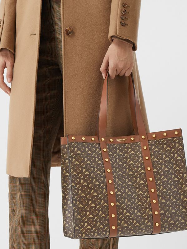 Small Monogram Print E-canvas Tote Bag in Tan | Burberry Hong Kong S.A.R - cell image 2