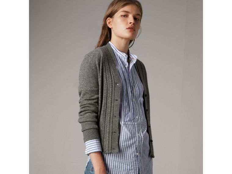 Cable Knit Detail Cashmere Cardigan in Mid Grey Melange - Women | Burberry Singapore - cell image 4